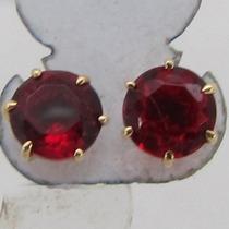 0911 Brinco Solitario De Ouro 18k 750 Pedra Vermelha Rpw