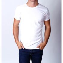 Camiseta Masculina Tshirt Malha Lisa Básica Branca Algodão