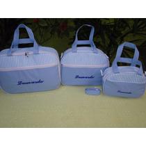 Kit Maternidade Mala,bolsa E Frasqueira-bordado Com Nome