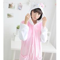 Pijama Adulto Macacão Plush Hello Kitty Com Capuz