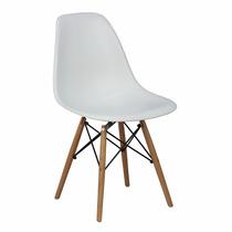 Cadeira Eiffel Charles Eames Em Pp Branca Base Em Madeira