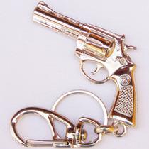 Chaveiro Revolver 38 Latão Cromado Chave Coleção Decorativo