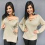 Blusa Tricot Crochê Lã Blogueiras Roupas Femininas Inverno