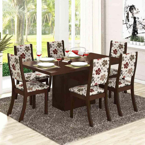 Sala De Jantar 6 Cadeiras Viero Dulce Choco / passion
