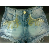 Shorts Feminino Customizado Destroyed Perólas E Correntes