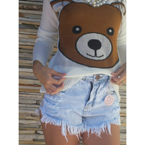 Shorts Jeans Hotpants Cintura Alta Cós Alto Short Destroyed