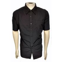 Camisa Tricoline Preta Social Formal Masculina Manga Curta