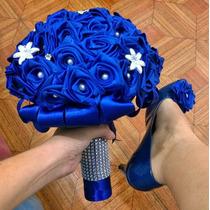 Buquê Bouquet Noiva Artificial Perolas Brochê Varias Cores