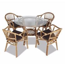 Conjunto Em Rattan Ronan, Mesa E 4 Cadeiras, Tampo De Vidro