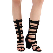 Sandália Salto Gladiadora Feminina Bebecê - Preto