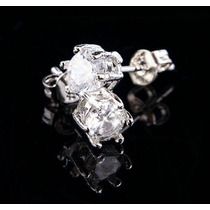 Par De Brincos Masculino 5mm Diamante Sintético Prata 925
