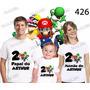 Lembrança De Aniversario Super Mario Bros Camiseta Kit Com 3
