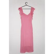 Vestido Rosa Forrado Mangas Romanticas Ref. M5