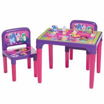 Mesa Mesinha Infantil C/ 2 Cadeiras Dora Aventureira C\ Jogo