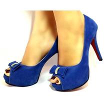 Sapato Feminino Social Peep Toe Laço Forma Grande