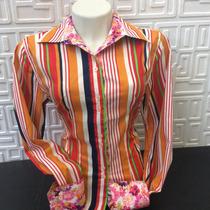 Camisa Social Feminina Slim Fit Estampada Tecido Importado