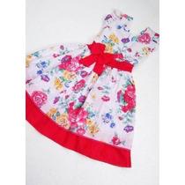 Vestido Infantil Tricoline Com Forro E Laço Vários Modelos