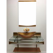 Gabinete Vidro 70 Cm Dourado + Misturador Dourado + Kit 5 Pc