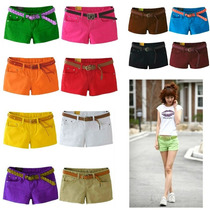 Shorts Jeans Feminino Shortinhos Várias Cores Plus Size 076
