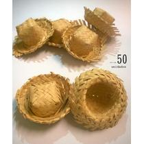 Mini Chapéu De Palha - Kit Com 50 Unidades