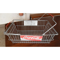 Antiga Cesta De Compras Em Metal De Propaganda Da Coca Cola