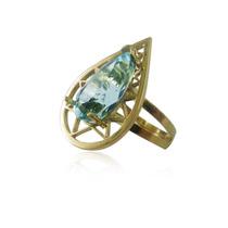 Anel Topázio Azul Natural Gota Em Ouro 18k