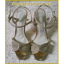 Sandalia Dourada Salto Fino - Frete Grátis