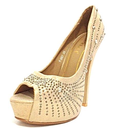 773e4600b Sapato Feminino Salto Alto Pedras Brilhantes Luxo - 013