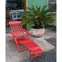Chaise Em Madeira Peroba Ripada Cor Vermelha - Woods