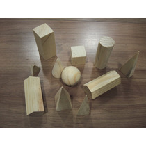 Solidos Geometricos Brinquedo Educativo Pedagogico Madeira