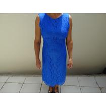 Vestido Social Feminino Longo Azul Forrado Com Renda