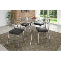 Mesa C/ 4 Cadeiras P/ Sala De Jantar Cromada Com Vidro Lion