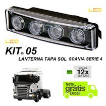 Kit C/ 5 Lanterna Led Tapa Sol Caminhão Scania Serie 4 E 5