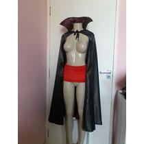 Fantasia Vampiro Vampira Unissex Homem Mulher Capa E Cinto