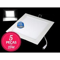 Kit 5 Painel Plafon Led 25w Luminaria Spot Embutir Slim