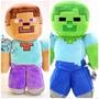 Boneco Pelúcia Minecraft Steve E Zumbi Grande