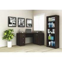 Mesa Para Computador/escrivaninha Estante E Balcão 3 Gavetas