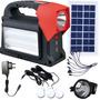 Kit Luz Pro Camping +lanterna Cabeça +3 Luz Led +placa Solar