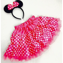 Fantasia Infantil Minnie Rosa Pink Tiara + Saia Rodada