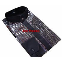 Camisa Masculina Gola De Padre Preta C/ Detalhes Prata