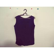 Camisa Feminina Azul-marinho Sem Mangas Cód. 384