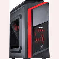 Gabinete Gamer Pcyes Mid Tower Dwarf Fan Led Vermelho