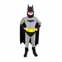 Fantasia Batman Infantil Manga Comprida Longa Capa E Máscara