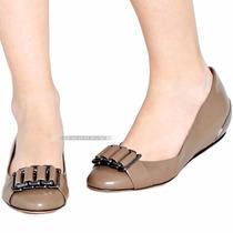 Sapatilha Shoestock Cáqui Couro Legítimo Salto Baixo Nº 37
