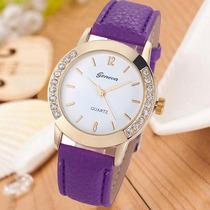 Relógio Feminino Strass Dourado Roxo Importado Barato Gen