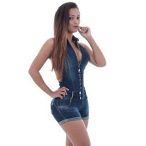 Macacão Jardineira Jeans Estilo Pit Bull - Aumenta Bum Bum.