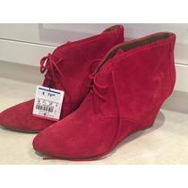 Bota De Camurça Vermelha Plataforma - Zara Tamanho 36