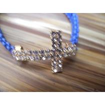 Pulseira Macramê Azul Crucifixo Strass Brilhante