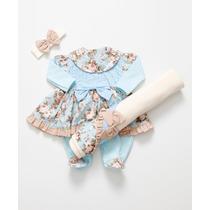 Kit Saída De Maternidade Melissa Floral Azul - Bebê Menina