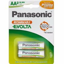 Pilhas Panasonic Aa2 Ni-mh 1,2v Evolta Recarregaveis 2100mah